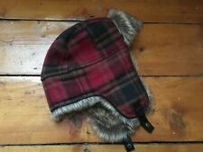 M&S Faux Fur Red Check Trapper Hat Marks & Spencer Medium Head Size 7-7.5 NEW