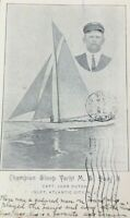 Postcard Circa 1908 Champion Sloop Yacht Atlantic City NJ Capt. John Dutch