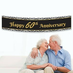 Personalised Black with Gold Happy 60th Birthday Gift Party Banner Decoration