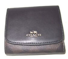 Coach Small Signature Black & Brown Wallet PVC & Leather F53837 NWT $135