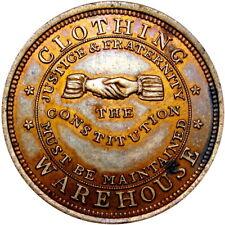 1860 New York City Merchant Token Jennings Wheeler & Co Shaking Hands