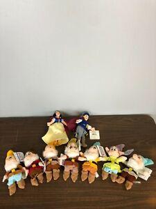 9 - Disney Store Mini Bean Bag Plush - Snow White, Prince, 7 Dwarves