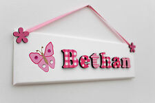 Girls butterfly door sign / name plaque pink and white