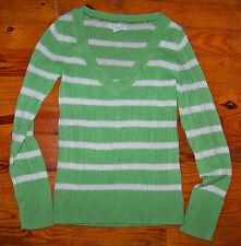 Women's Juniors AEROPOSTALE Green & Ivory Stripe PullOver Sweater Size Medium
