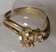 bague vintage couleur or rhodié signé AVON déco fleur avec cristaux diamant T.54