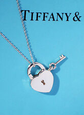 Tiffany & Co Sterling Silver Heart & Key Padlock Charm Necklace