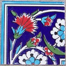 """4""""x4"""" Raised Iznik Red Carnation & White Daisy Ceramic Tile Border CORNER"""