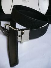 New Coach Men Black Leather Classic Reversible Belt Silver Buckle F90107 30