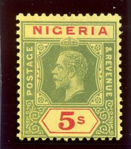 Nigeria 1920 KGV 5s green & red/buff MLH. SG 10d.