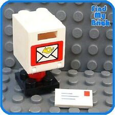 T901 Lego Mail Box with Envelope - White - RARE - NEW