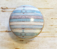 "Handmade Set of 4 Beach Blue White Weathered Knobs, 1.5"" Cabinet Knobs"