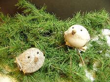"Tweed & Cream Felt Birds Pair Clip on Christmas Tree Ornaments Decoration 3.5"""