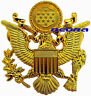 """US Army Officer Cap Eagle Badge Insignia Gold 2.50"""" Large Lapel Hat Pin"""