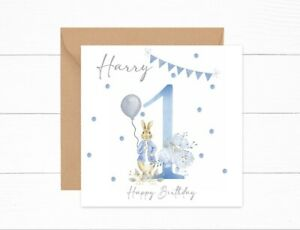 Personalised Boys Birthday Card 1st Birthday Peter Rabbit One Today Son Brother