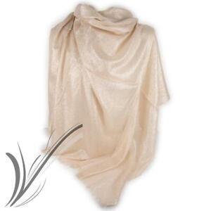 Stola beige cerimonia donna elegante foulard coprispalle scialle glitter ijab