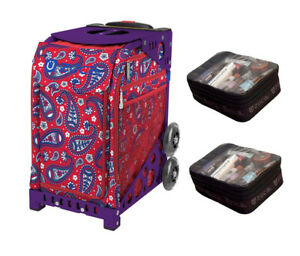 Zuca Sport Bag - Paisley in Red  with Gift 2 Small Utility Pouch (Purple Frame)