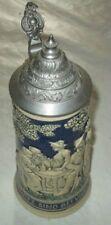 Tankard Stupendo boccale da birra,ceramica decorata ,0,5 lt.+coperchio in peltro