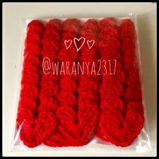 30 x Handmade Crochet cuore in colore rosso taglia 4 cm