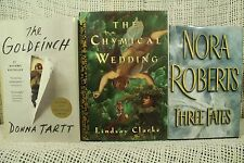 Three Fates Nora Roberts The Goldfinch Donna Tartt Chymical Wedding lot 3 old