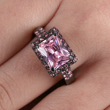 Pink Sapphire CZ Band Wedding Ring 10KT Black Gold Filled Women Size  9