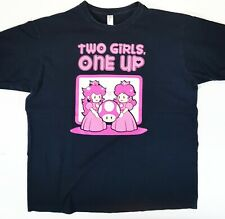Video Game XL Shirt Two Girls One up Mario/ Nintendo/ Peach/ Cup/Mushroom/ Pixel