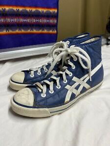 Vintage Onitsuka Tiger High Top Nylon Sneakers Blue Size 9.5 28.5 Made In Japan