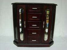 Wood Jewelry Box Armoire Chest Glass Doors Ring Storage Necklace Hangers
