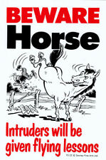 NEW Beware Horse Intruders Will Be Given Flying Lessons Sign