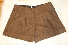NEW  BCBG MAXAZRIA WOMEN'S WOOL SHORTS SIZE 6  HIGH RISE COLOR BROWN TWEED