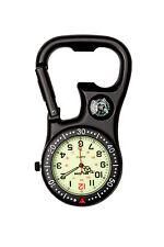 Black Clip-on Carabiner Luminous Face Fob Watch for Doctors Nurses Paramedics