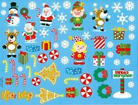 Christmas characters, snowflakes and candy stickers, 50+ stickers, 1 sheet.