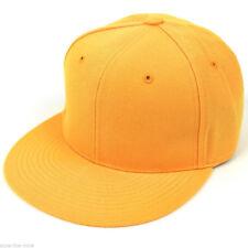 New Fitted Baseball Hat Cap Plain Basic Blank Color Flat Bill Visor Ball Sport