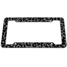 Gray Safari Wild Cat Cheetah Leopard Animal Print License Plate Frame For Car