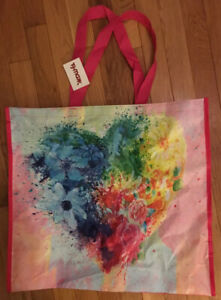 TJ Maxx Large Shopping Tote Bag Watercolor Floral Heart~Reusable Eco Tote NWT