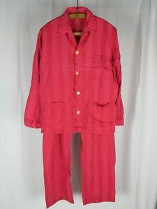 Derek Rose for Philip Landau England Made Cotton 2 Pc Striped Pajama Set Sz 40