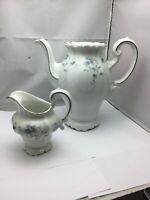 Johann Haviland BLUE GARLAND Coffee Tea Pot and Creamer, Bavaria Germany