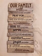 Our Family Will. Attributes from Scripture Small wall plaque Or Stand