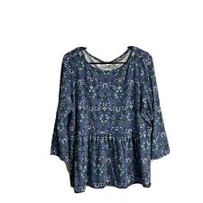 J. Jill Top Large Petite LP PL Women Floral Multicolor 3/4 Sleeve Blue