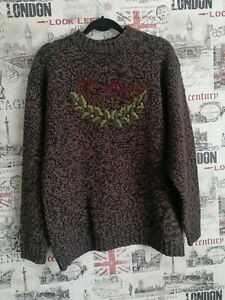 THOMAS BURBERRY CHATHAM PLACE LONDON 100% WOOL KNIT BROWN MIX JUMPER SIZE L
