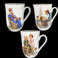 Vintage Norman Rockwell Mugs Lot of 3  Porcelain Mug Collection