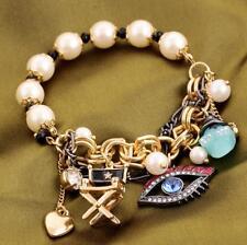 Hot jewelry Betsey Johnson rhinestone eyes pearl skull Chain elasticity bracelet