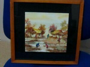 Original watercolour of a Vietnamese Village signed Kries