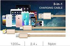 Yesido 3 in1 Multi USB Charger Charging Cord Micro USB/8 Pin Port/TypeC
