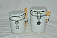 2 pc. Anchor Hocking Ceramic Canister Set Storage Ware White w/ Scoops