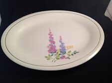 Edwin M. Knowles Platter 22 kt Gold Trim Cream Multi Semi Vitreous 1940-1948 USA