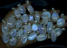 5pcs Rainbow Moonstone Gemstone Bezel Pendant 925 Sterling Silver Overlay wh-33