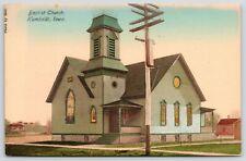 Humboldt Iowa~Baptist Church Close Up~Stained Glass Windows~c1910 Handcolored