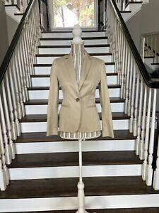 NWOT Banana Republic Blazer Women's Size 0P Tan Cotton Stretch One Button Career