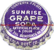 1940s Minnesota MARSHALL Coca Cola Bottling SUNRISE GRAPE SODA Cork Crown