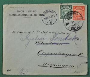 BOLIVIA STAMP COVER 1921 TO DENMARK  (H69)